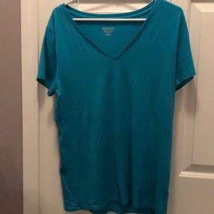Teal short sleeve v-neck tee